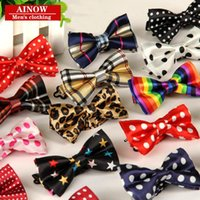 Wholesale Narrow Silk Ties - 2017 Children Bow Ties Children's polyester silk leisure narrow print cartoon wholesale Stripes Paisley Floral Polka Dots Check for par