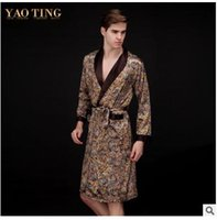 Wholesale Male Silk Kimono Robe - Spring Summer Fashion Vintage Print Kimono Men Faux Silk Bathrobe Man Sleepwear Long Sleeve Lounge Nightgown V_Neck Male Dressing Gown