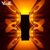 Wholesale Decorated Butterflies - Indoor LED Wall Lamp 2W Butterfly Projection Aluminum Sconce AC110-220V Decorate Wall Lighting Free Shipping