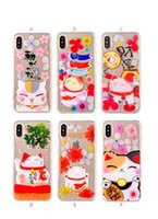 Wholesale Cute Silicone Lg Phone Cases - Cute Lovely Lucky Cat Soft TPU Case For Iphone X 8 7 Plus 6 6S Plus Flower Clear Silicone Gel Cell Phone Back Cover Skin