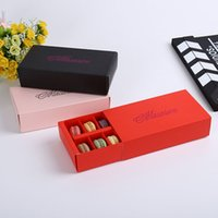 Wholesale Cupcake 12 Box - 12 Cups Macaron Box Packaging Drawer Type Biscuit Pastry Chocolate Cake Boxes For Wedding Party Gift ZA4481