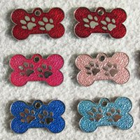 Wholesale paw pet tags - 10pcs bone and paw design Drip process Zinc alloy Blank Pet Dog ID Tags for small dogs cats