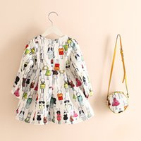 Wholesale 2017 Autumn girls flax like princess flower dresses baby girl clothes