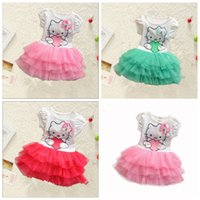 Wholesale girl kitty - Cute Baby Girls Hello Kitty Dress Kids Summer Short Sleeves Tutu Princess Dresses Baby Clothes Lace Crepe Skirt Free Shipping