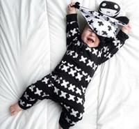 ingrosso ponticello nero del neonato-Primavera Autunno Infant Toddler Baby Cotton Black Onesies Pagliaccetti Girl Boy Tute lunghe Abiti Body Bambini Kid Sleepwear Jumper
