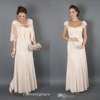 brautkleider champagner farbe großhandel-Elegante Champagner-Farbe mit Jacken Kleider für die Brautmutter Formelle Patin Frauen tragen Abendkleid für Hochzeitsgäste in Übergröße