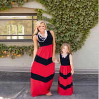 Wholesale Chevron Baby Girl Clothes - Mother and Girls Dress Sleeveless Chevron Printed Women Baby Dress Set Cotton Girls Clothing Mama Baby Outfit