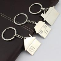 Wholesale Drop Hangers - New arrivels Lovely house keychain fashion key rings warm home key chains metal key holder woman bag charm car pendant hanger drop shipping