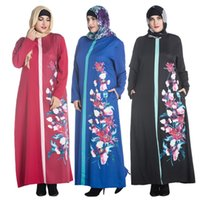 Wholesale Ladies Blue Print Dress - XL-7XL Big Size Muslim Dubai Design Dress abayas printing chiffon muslim caftan islamic dress Ladies turkish traditional dress