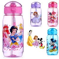 Wholesale White Plastic Straws - 401-500ml Fashion Cartoon Water Bottles Plastic Straw Kettle Children Kids Snow White Princess Mickey Outdoor Drinking Cup Bottle HH-C0