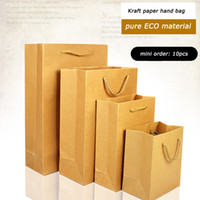 Wholesale Packing Materials - 10pcs nice quality kraft paper hand bag pure ECO material for packing of clothes shoes cosmetics (9 size for your choice) free shipping