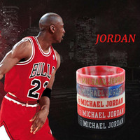 Wholesale White Rubber Wristband - 2pcs sport silicone bracelet Debossed head basketball men wristband Glow in the dark rubber bangle with 5colors