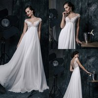 Wholesale Dresses Chiffon Plus - Sexy 2017 Chiffon Wedding Dresses A Line Plus Size Bridal Gowns Cheap Sleeveless Covered Button Wedding Gown