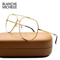 moda óculos quadros claros venda por atacado-Atacado- Moda Aço Inoxidável Unisex Óculos de Armação UV400 óculos Frames Óculos Claros Para Mulheres Homens Óculos de Ouro Optical Com Caixa
