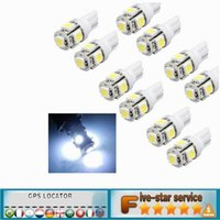 Wholesale Light Bulbs Wholesale - 2016 New Hot 10pcs Car Interior Light T10 Wedge 5-SMD 5050 Xenon LED Light bulbs 192 168 194 W5W 2825 158 White Free Shipping