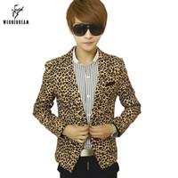 Wholesale Male Leopard Print Blazer - Wholesale- Mens Slim Fit Blazer Leopard Printed Suit Jacket Stage Costumes for Singers Male Outerwear Men's Coat Cclothing 2017