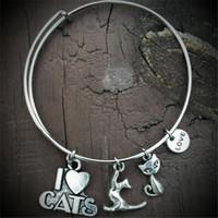 brazaletes de gato al por mayor-12 unids I Love Gatos Ajustable charm Brazalete Pulsera tono plateado