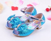 Wholesale Summer Dresses For Kids Sale - 2017 4 Color Pink Blue Gold Silver Frozen Elsa Princess Shoes Dress Up Baby Girls Shoes Bby Beby Shoses Summer Shoues For Kids On Sale