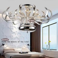 Wholesale Chandelier Floral Iron Crystal - Modern Floral Crystal Chandelier Lights Crystal Lusters Lamp G4 Crystal Lighting Flush Mounted for Ceiling MD10205