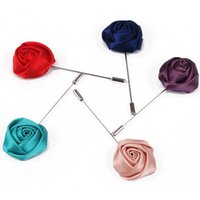 Wholesale Silk Cloth Roses - Wholesale- Hot Sale 2015 Fashion Cheap Handmade Cloth Silk Silver Fabric Rose Flower Brooches Pin for Women and Men Jewelry Free Shipping