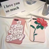 Wholesale Mobile Phone Flower Case - 3D Luxury Rose Flower Pattern pink Silicone Phone Shell for Iphone 6 6s plus 7 7plus mobile phone case pink letter cases free post