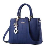 Wholesale Tartan Handbags - Top-quality Women PU Retro Shoulder Bags Lady Leather Pearl Pendant Handbag High-capacity Totes Tartan Shoulder Hobos Cross Bady Bags