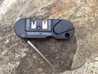 afiador de gancho de bolso venda por atacado-Três Estágios Cerâmica Carbide Diamante Knife Sharpener Pocket Ferramenta EDC Ao Ar Livre Gancho de Peixes Profissional Afiar Pedra