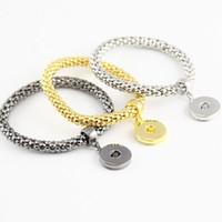 18 mm gümüş zincir toptan satış-Moda Gümüş Siyah Altın Zencefil Çırpıda Takı Yılan Zincir Snaps düğmeler bilezik Kadınlar için Fit Değiştirilebilir 18mm Charm