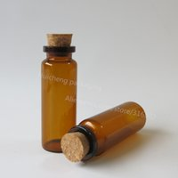 Wholesale Amber Glass Bottles 2oz - 24 x15ml amber glass bottle with wood cork, 15ml brown glass vials,1 2oz brown glass container