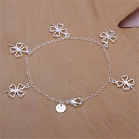 Wholesale Empty Bracelet - 10PCS lot Free shipping Wholesale 925 Sterling silver plated Hanging empty clover Bracelet LKNSPCH185