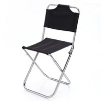Wholesale Folding Chair Aluminum - Wholesale- Portable Outdoor Fishing Folding Chairs Garden Picnic Camping Black Aluminum Home Furniture Stackable