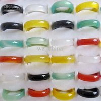 Wholesale 6mm Faceted Gemstones - 8.50 CTS 6MM BLACK GREEN FIRE RED BLUE WHITE NATURAL MULTI-COLORED FACETED AGATE GEMSTONE BAND RINGS