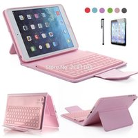 Atacado-Para iPad Mini Retina 2 3 4 PU Leather Stand Case com teclado Bluetooth sem fio