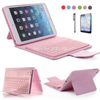 Wholesale Mini Leather Wireless Keyboard - Wholesale-For iPad Mini Retina 2 3 4 PU Leather Stand Case Cover With Wireless Bluetooth Keyboard