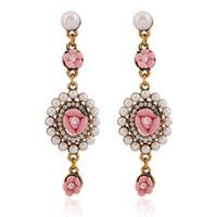 Wholesale Earring Palace Flower - New Retro Palace Flowers Earrings European Style Jewelry Pearl Earrings Long Earrings for Women free shipping