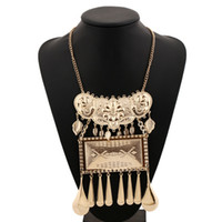 Wholesale Flower Black Water Drop Pendant - Gold Plated Tassel Necklace Multi Layer Statement Fashion Vintage Bohemian Silver Color Flower Water Drop Leaf Pendant Necklaces for Women