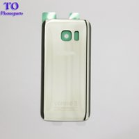 Wholesale Galaxy Replacement Battery - 10pcs Back Glass Cover replacement For Samsung GALAXY S7 G930 S7 Edge G935 Rear Housing Battery Door Rear Adhesive parts with doub logo