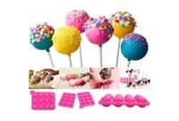pasta pop silikon kalıp toptan satış-Kek için silikon Kalıp Araçları Lolipop Pop 12 Delik Kalıp Silikon Yuvarlak Şekil Parti Kek Çerez Şeker Çikolata Maker Pişirme