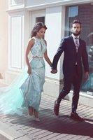 bodenlange abschlussballkleid minze großhandel-Sagte Mhamad 2017 Mint GreenTwo-Pieces Prom Dresses Arabische Blumen Abendkleider Günstige Celebrity Kleider bodenlangen