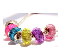 Wholesale Candy Charms For Bracelets - 50 Pcs 925 Sterling Silver Candy Multicolor Handmade Murano Lampwork Glass Charm Beads Big Hole facete For Pandora European Jewelry Bracelet