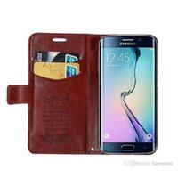 Wholesale Rubberized Hard Case - Copy Sheepskin Leather Case For GALAXY S6 Edge Card Slot Pocket Stand function Rubberized Hard PC Shell PU Flip Cover Free Shipping