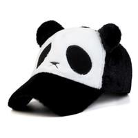 Wholesale Kids Panda Baseball Hat - Womens Girls Kids Popular lovely Plush Cartoon Panda Caps Cute Casual Adjustable Winter Warm Baseball Hats Outdoor Travel Sports Hip Hop Hat