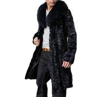 Wholesale Trench Coat Men Black Fur - Wholesale- Men Long Black Faux Fur Coat Pelliccia Slim Shaggy Trench Windbreaker Winter Fur Jackets Mex Jaqueta Masculina Chaqueta Hombre