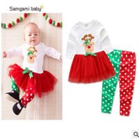 Wholesale Toddlers Polka Dots Dresses - Christmas Outfits Kids Girls Christmas Clothing Christmas Long Sleeve Tops Dress Polka Dot Legging Infant Toddler TUTU Dress Clothes Outwear