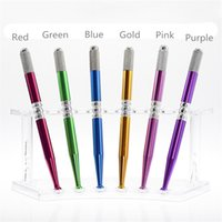 Wholesale Gold Tattoos Permanent - Embroidery Pen Single Cross Head for Women Manual Aluminun Tattoo Pen for Eyebrow Permanent Makeup Red Purple Gold