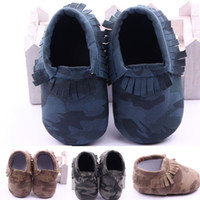 Wholesale Baby Leopard First Walking Shoes - Baby Moccasins Camouflage Leopard Dots Tassels Nubuck Leather Baby Walking Shoes Anti-slip Soft Sole Infant Toddler First Walkers LG-83
