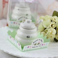 Wholesale Ceramic Baby Favors Wholesale - Free Shipping 100 pcs Ceramic Meant to Bee Honey Jar Honey Pot Wedding favors   Baby shower favors