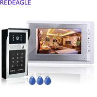 Wholesale Unlock Phone Code - 7 inch Wired Color Video Intercom Door Phone System with 1 LCD Monitor + RFID Code Keypad Unlocking Doorbell Camera