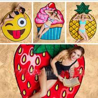 erdbeeren torte großhandel-Runde Polyester Strand Dusche Handtuch Decke Yoga Handtuch Schädel Eis Creme Erdbeer Smiley Emoji Ananas Pie Wassermelone Handtuch