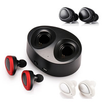 Wholesale Wireless Charger Double - TWS K2 True Wireless Bluetooth Earphones Stereo Headset Dual Twins Earpieces Bass Mic Double Earbuds Headphones USB Charger Box